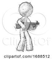 Sketch Design Mascot Man Tommy Gun Gangster Shooting Pose