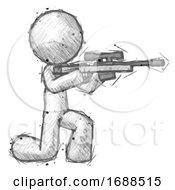 Sketch Design Mascot Man Kneeling Shooting Sniper Rifle