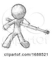 Sketch Design Mascot Man Bo Staff Action Hero Kung Fu Pose