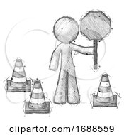 Poster, Art Print Of Sketch Design Mascot Man Holding Stop Sign By Traffic Cones Under Construction Concept