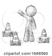Poster, Art Print Of Sketch Design Mascot Man Standing By Traffic Cones Waving