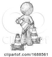 Poster, Art Print Of Sketch Design Mascot Man Holding A Traffic Cone