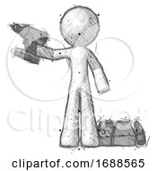 Sketch Design Mascot Man Holding Drill Ready To Work Toolchest And Tools To Right