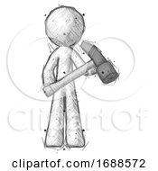 Sketch Design Mascot Man Holding Hammer Ready To Work