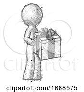 Sketch Design Mascot Man Giving A Present