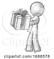 Sketch Design Mascot Man Presenting A Present With Large Bow On It
