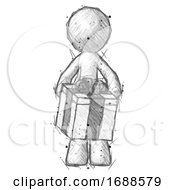 Sketch Design Mascot Man Gifting Present With Large Bow Front View