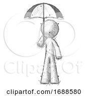 Sketch Design Mascot Man Holding Umbrella