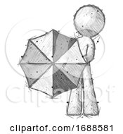 Sketch Design Mascot Man Holding Rainbow Umbrella Out To Viewer