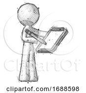 Sketch Design Mascot Man Using Clipboard And Pencil
