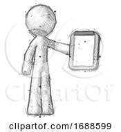 Sketch Design Mascot Man Showing Clipboard To Viewer