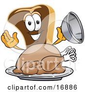 Meat Beef Steak Mascot Cartoon Character Serving A Thanksgiving Turkey On A Platter