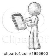 Sketch Design Mascot Man Reviewing Stuff On Clipboard