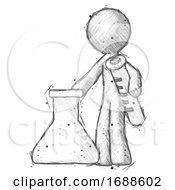 Sketch Design Mascot Man Holding Test Tube Beside Beaker Or Flask