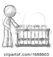 Sketch Design Mascot Man Using Test Tubes Or Vials On Rack