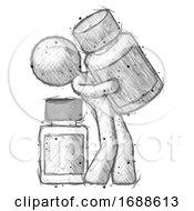 Sketch Design Mascot Man Holding Large White Medicine Bottle With Bottle In Background