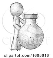 Sketch Design Mascot Man Standing Beside Large Round Flask Or Beaker