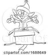 Christmas Elf Popping Out Of A Gift Box