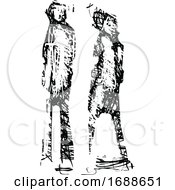 Black And White Expressionistic Styled Couple Or Pedestrians