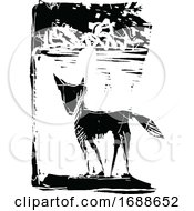 Black And White Expressionistic Styled Fox
