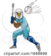 Eagle Baseball Player Mascot Swinging Bat At Ball