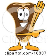 Clipart Picture Of A Meat Beef Steak Mascot Cartoon Character Waving And Pointing To The Right by Toons4Biz