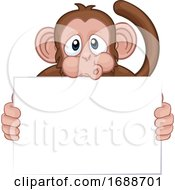 Poster, Art Print Of Monkey Cartoon Character Animal Holding Sign
