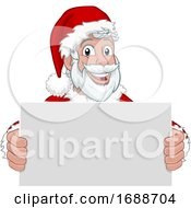 Young Santa Claus Holding Sign Christmas Cartoon