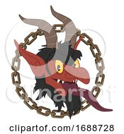 Krampus Chain Austria Christmas Icon Illustration