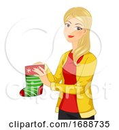 Girl Christmas Sock Gift Illustration