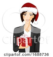 Girl Office Celebrate Christmas Gift Illustration