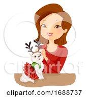 Girl Pet Cat Christmas Costume Illustration