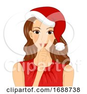 Girl Secret Santa Quiet Finger Illustration