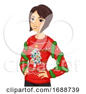 Girl Ugly Sweater Illustration