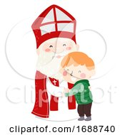 Kid Boy Hug Saint Nicholas Illustration