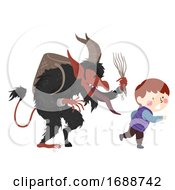 Kid Boy Krampus Austria Illustration