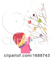 Kid Girl Christmas Tree Branch Decorate Balls