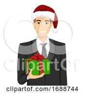 Man Office Celebrate Christmas Gift Illustration