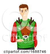 Man Ugly Sweater Illustration