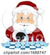 Santa Claus Play Chess Illustration
