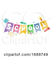 School Lettering Bunting Elements Illustration