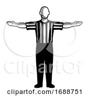Poster, Art Print Of Basketball Referee 60-Second Time-Out Hand Signal Retro