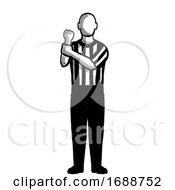 Poster, Art Print Of Basketball Referee Holding Hand Signal Retro