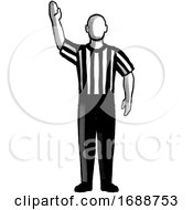 Poster, Art Print Of Basketball Referee Stop Clock Hand Signal Retro Black And White