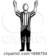 Poster, Art Print Of Basketball Referee 3-Point Field Goal Successful Hand Signal Retro Black And White