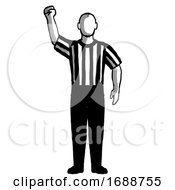 Poster, Art Print Of Basketball Referee Stop Clock For Foul Hand Signal Retro Black And White