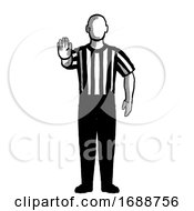 Basketball Referee Directional Signal Hand Signal Retro Black And White