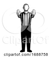 Basketball Referee 10 Second Violation Or Charging Pushing Hand Signal Retro Black And White