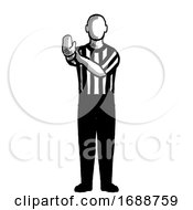 Poster, Art Print Of Basketball Referee Hand Check Hand Signal Retro Black And White