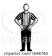 Basketball Referee Blocking Hand Signal Retro Black And White